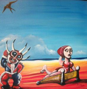 100-1347 Antonio Beauty & the Beast 24 x 24 Acrylic on canvas