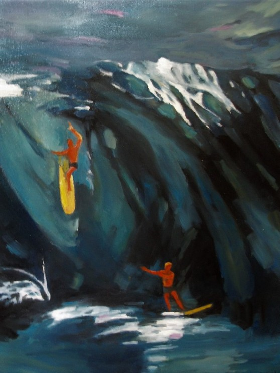 Dolores Hibbard. Hang Ten. 30x30 Oil