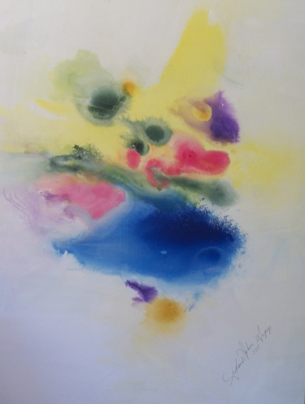 Gloria sepp.Blue-Yellow Abstract.Acrylic.canvas 48x60