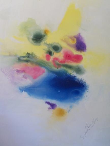 Gloria sepp.Blue-Yellow Abstract.Acrylic.canvas 48x60