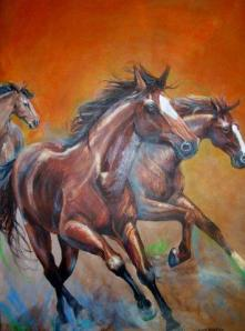 Here is a new Linda photo, Wild Horses 30 x 40 Acrylic on canvas