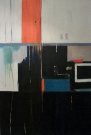 J.stufflebeam.orange door. 72x48 Acrylic on canvas