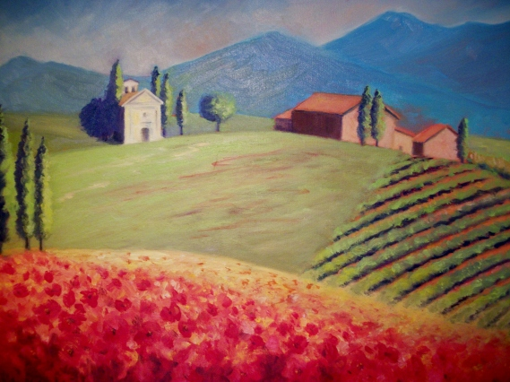 l.LaMothe.Springtime_in_Tuscany_I._Oil_on_canvas.16x20