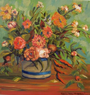 Rebecca Pelley McWatters.Floral 12x12 oil.canvas