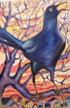"""Grackle at Sunset"" Oil on Wood"